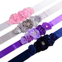 Фиолетовый, серый, Темно-синие, розовый цветок пояса атласные ленты горный хрусталь дети Ремни для девочек на свадьбу для девочек в цветочек пояса для платья