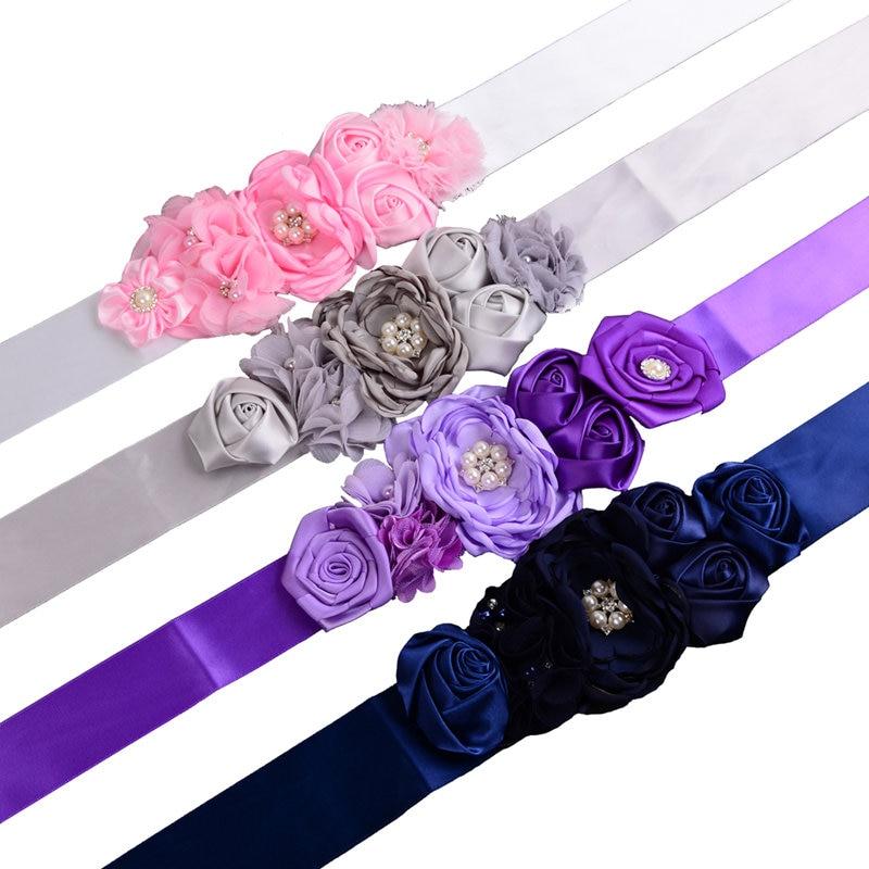 Himmel Blau Kinder Gürtel Mädchen Satin Strass Frauen Kinder Blume Gürtel Für Party Hochzeit Kleider Blume Mädchen Schärpe Hart Arbeitend Lila Rosa