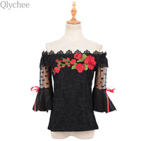 Qlychee Floral Embroidery Off Shoulder Mesh Patchwork Bow Tie Flare Sleeve T Shirt Women Summer OL