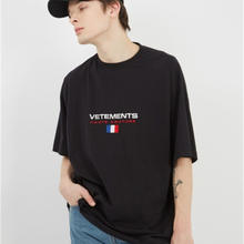 Vetements T Shirts Borduren Frankrijk Vlag Mannen 1:1 Hest Kwaliteit Korte Mouw Hip-Hop Top Tees Vetements T-shirt(China)