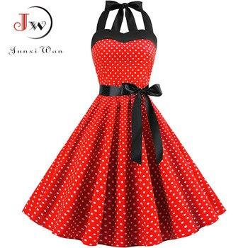 Sexy Halter Party Dress 2018 Retro Polka Dot Hepburn Vintage 50s 60s Pin Up Rockabilly Dresses Robe Plus Size Elegant Midi Dress 4