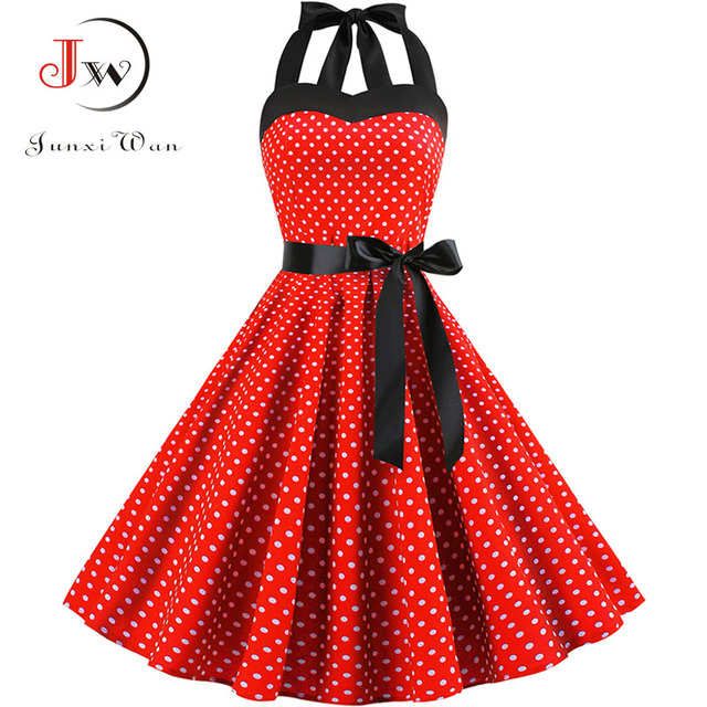 Sexy Halter Party Dress Retro Polka Dot Hepburn Vintage 50s 60s Pin Up Rockabilly Dresses Robe Plus Size Elegant Midi Dress 4