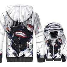 Anime Tokyo Ghoul Jacket Hip Hop Hoodie Men Sweatshirt Winter Thick Fleece Warm Zip up 3D Print Coat Harajuku Streetwear