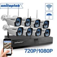 Unitoptek 4CH 8CH Wireless NVR Home Security Cam System 720P 1080P HD CCTV Video Surveillance NVR Kit 2.0MP Wifi Outdoor Cam Set