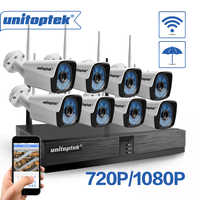Unitoptek 4CH 8CH Wireless NVR Home Security Cam System 720P 1080P HD CCTV Video Surveillance NVR Kit 2.0MP Wifi Outdoor Cam Set