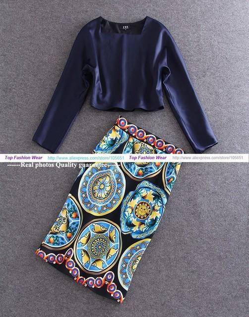 ALTA CALIDAD Más Nueva Manera 2016 Runway Suit Set mujeres Largo Blusas de manga Sólidos Y Retro Impreso Floral de La Falda de La Falda traje