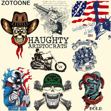 ZOTOONE Skull Motorcycle Applique New Design Diy Accessory Badges Washable Clothing Deco Heat Transfer Patches For Clothes E