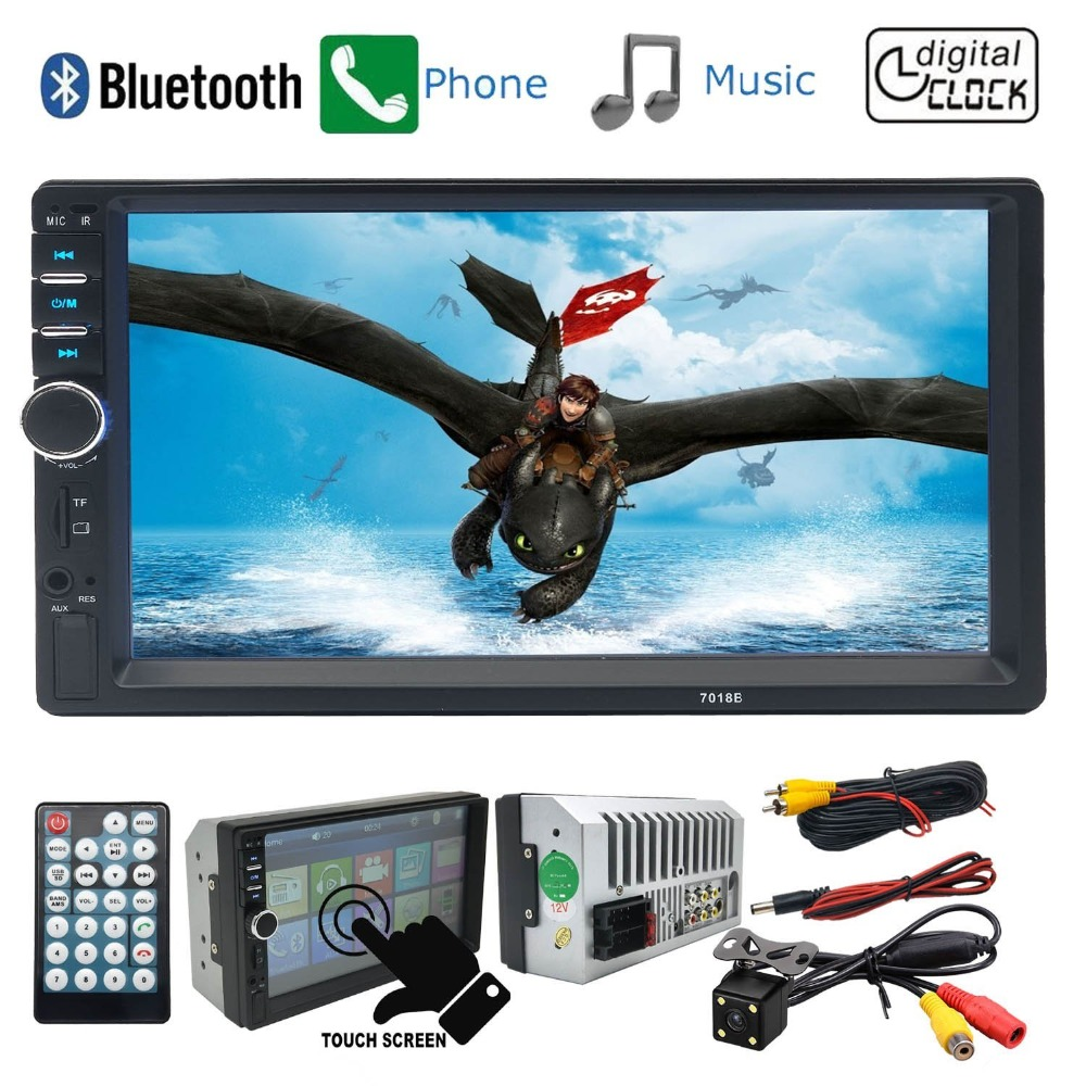 7018B Car Audio 7 Inch 2 DIN Autoradio Stereo Touch Screen Auto Radio Video Car MP5 Player Support Bluetooth TF USB FM Camera 7 inch hd touch screen 2 din bluetooth auto car audio stereo fm mp5 player support aux usb tf phone reverse rearview camera