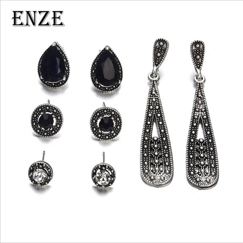 ENZE Free Shipping Fashion Women's Jewelry 4 pieces/set of a plated ancient silver color retro water drop long short earrings