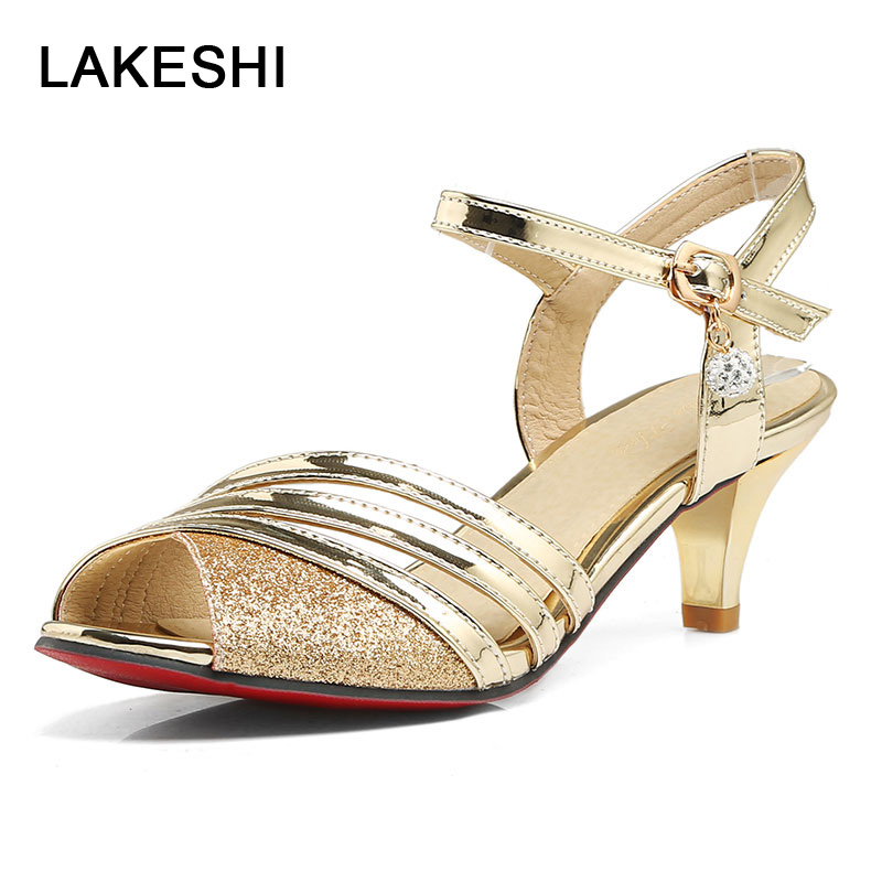 LAKESHI Gladiator Bling Women Pumps Shoes Gold Silver Peep Toe High Heels Shoes Female Summer Buckle Strap Women Heel Sandals woman sandals ankle strap buckle pumps women high square heels shoes peep toe summer feminino gladiator sandals or914975