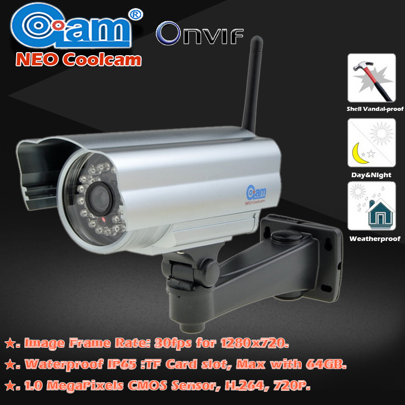 NEO Coolcam NIP-006FX Waterproof Outdoor 1.0MP Bullet IR 20m HD 720P IP Security Camera P2P CCTV ONVIF IR Cut  Camera IP цена и фото