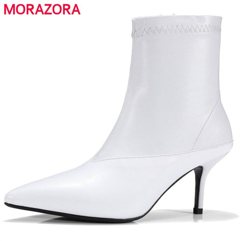 Pointu Véritable Femmes Talons Easticity Morazora Bottes Pu Chaussures Cuir Cheville Pour Mode Élégante En blanc Noir Bout Minces qYPZxpY