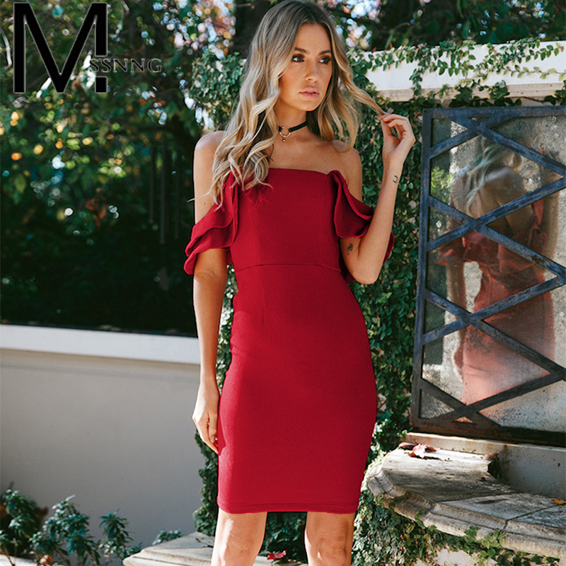 MSSNNG 2018 sexy backless summer dress ruffles patchwork sleeveless solid women dress bodycon off shoulder party dresses femme