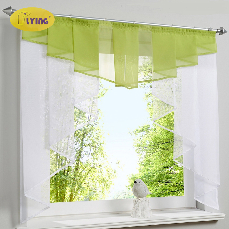 Flying Tulle Kitchen Curtain For Window Balcony Rome Pleated Design Stitching Colors Voile Sheer Drape White Yarn Curtains Short(China)