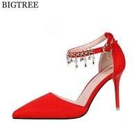Bigtree mujeres zapatos tacones plataforma con cuentas punta sexy Suede medio tacón alto las mujeres bombas señora cuñas zapatos