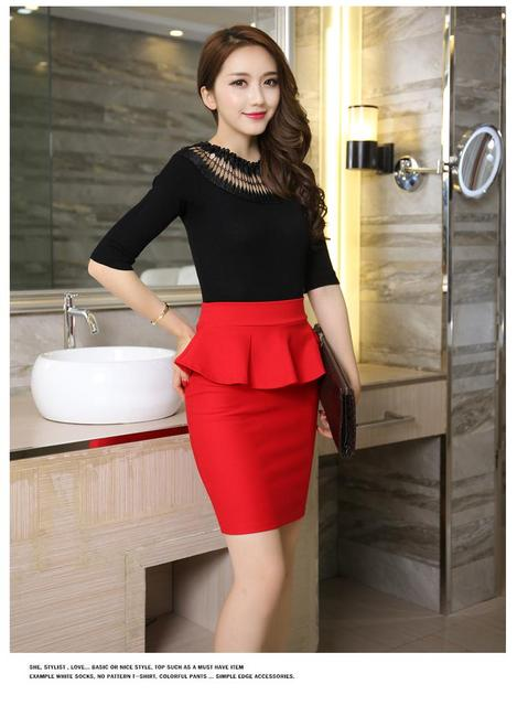 b7535a42126 Plus Size Women Pencil Skirts Ruffles 2016 Summer Fashion Korean Casual Ladies  Bodycon Skirts Elegant Open Slit Skirts Red Black