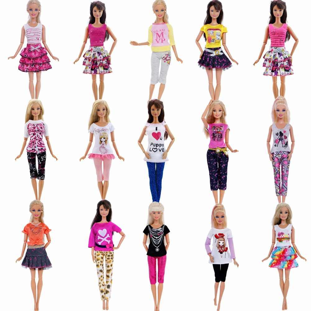 Одежда ручной работы смешанные стиль платье Повседневная одежда Блузка модные брюки для девочек юбка одежда куклы Барби интимные аксессуары игрушка в подарок