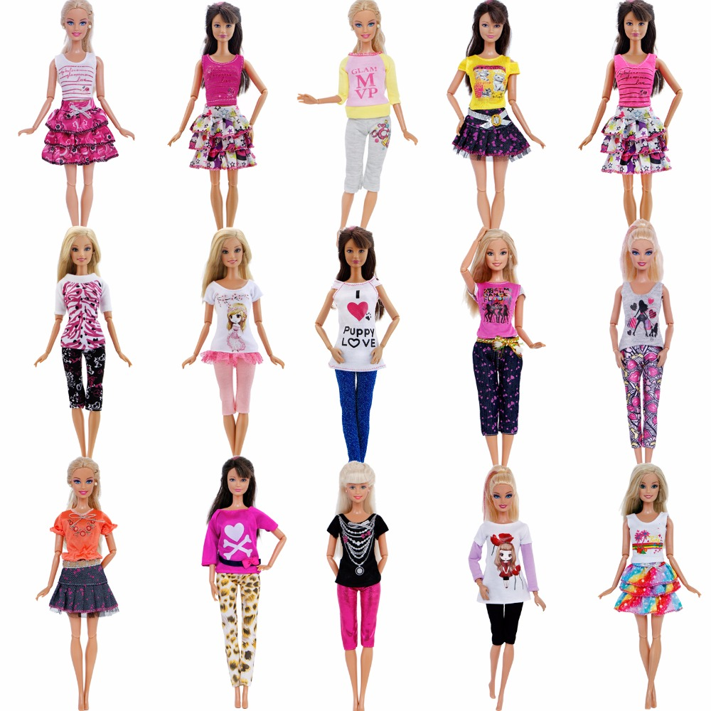 Handmade Outfit Mixed Style Dress Daily Casual Wear Tops Blouse Fashion Pants Skirt Clothes For Barbie Doll Accessories Toy