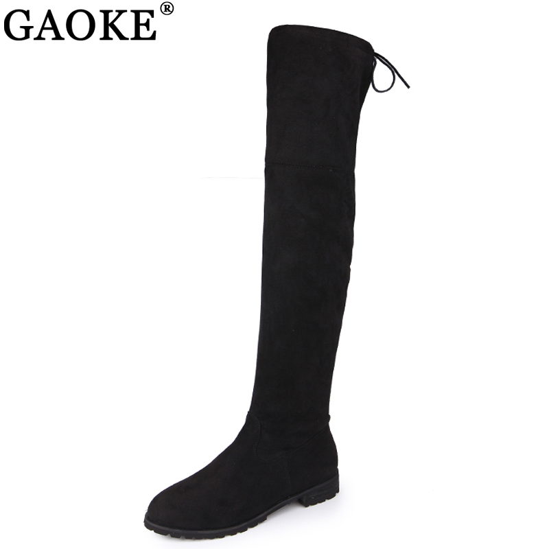GAOKE 2018 Over The Knee Boots Square Med Heel Women Boots Sexy Ladies Lace Up Stretch Fabric Fashion Boots Black Size 35-43 vallkin 2018 lace up women boots rhinestone square high heel over the knee boots stretch fabric wedding ladies boots size 34 43