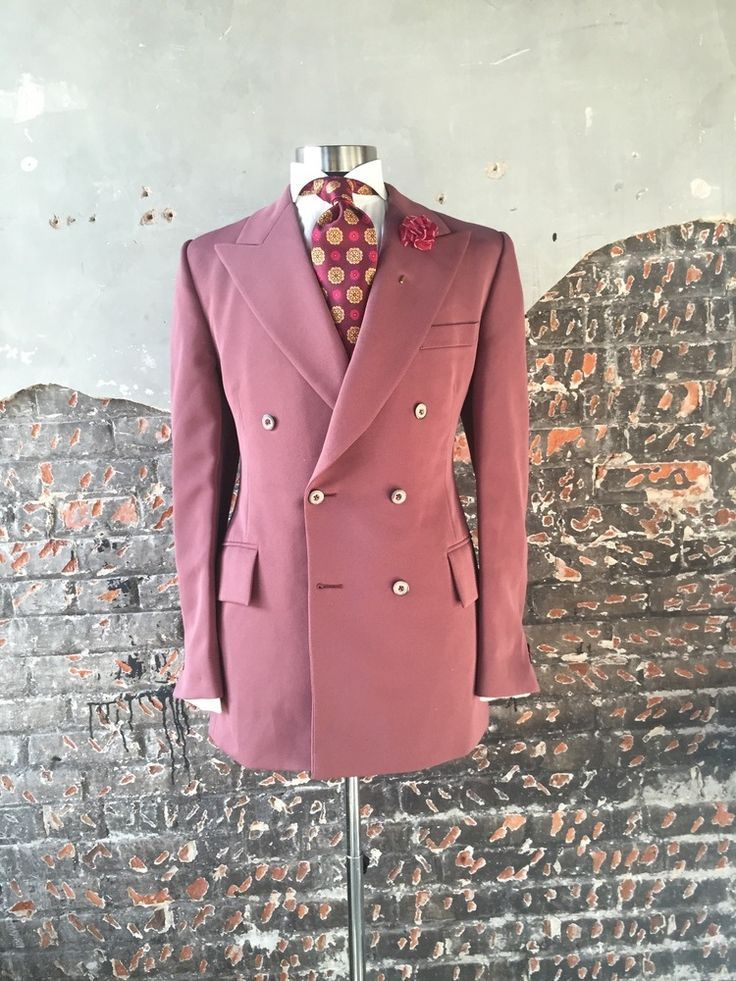 Pink Men Suits Double Breasted Suits Coat Peaked Lapel Custome Homme Fashion Tuxedos High Quality Terno Slim Fit Men Jacket+Pant