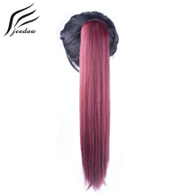 jeedou Straight Synthetic Claw Ponytail 22″ 55cm 170g Dark Brown Blonde Color Ponytails Hair Extension Women's Hairpieces