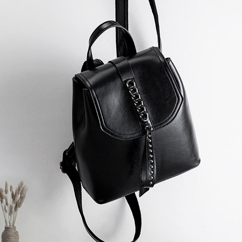 Модные рюкзак с цепочкой масло воск кожа коровы Ins черный Цвет рюкзаки женские путешествия покупки Повседневное сумка маленький школьный рюкзак книжный пакет