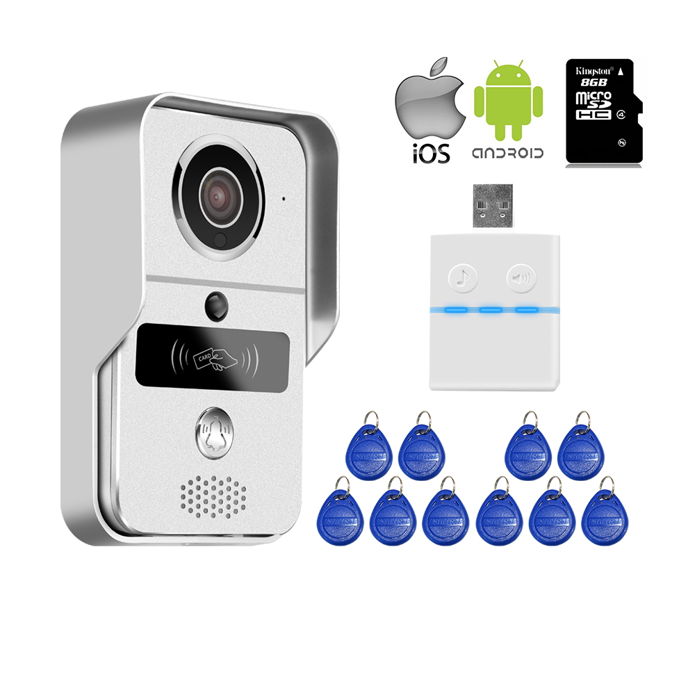 Free Shipping New Wireless Wifi IP RFID Access Doorbell Camera Video Intercom for Android IOS Phone Remote View Unlock + 8G TF jcsmarts rfid access wireless wifi ip doorbell camera video intercom for android ios smartphone remote view unlock with sd card