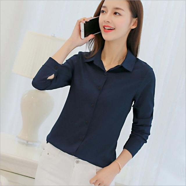 Casual Chiffon Blouse Long Sleeve Elegant Women Tops Women Clothes Slim Women Streetwear Blue White Shirt 1