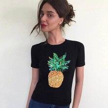 NiceMix 2019 Harajuku Women T-shirt Summer Sequins Pineapple Tee Short Sleeve O-neck Tops Fashion White Black T Shirts