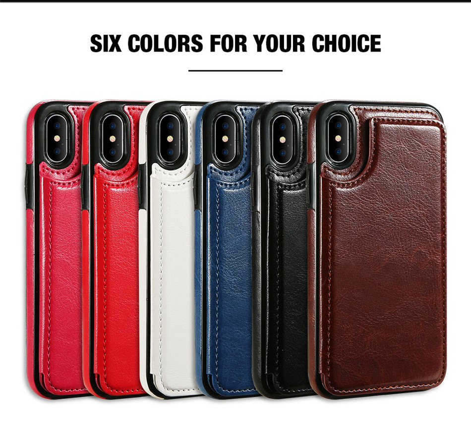 KISSCASE Retro PU Leather Case For iPhone X 6 6s 7 8 Plus 5S SE Multi Card Holders Case Cover For iPhone 8 7 6 6s Plus X Shells 20