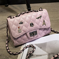 Kajie Sequined Plaid Shoulder Bag Women Messenger Bags Lock Leather Chain Sac A Main pink Bags 2017 Luxury Bag Small Crossbody