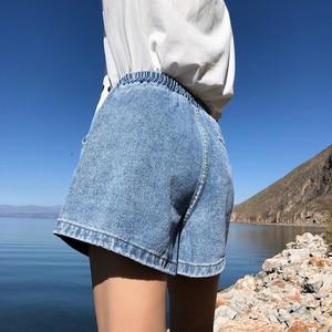Image 3 - Женские джинсовые шорты с высокой эластичной талией, черные, синие, белые, розовые джинсовые шорты с широкими штанинами в уличном стиле, лето 2020