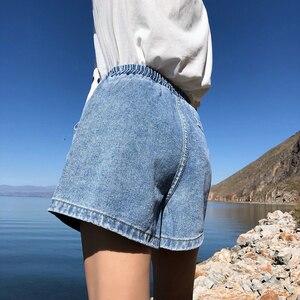Image 3 - Streetwear letnie spodenki jeansowe damskie 2020 New Arrival wysokie spodenki z rozciągliwą talią, szeroka nogawka dżinsy czarny niebieski biały różowy krótki Femme