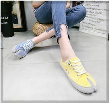 Womens Split Toe Flat Lace Up Canvas Breathabale Fashion Sneakers Board Shoes sz S142