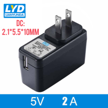 US 5V/2A 5.5mm*2.1mm AC-DC Power Adapter For Electrical Equipment Switching Black LED Strip Light