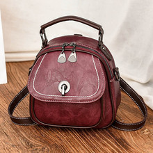Youbroer Leather Texture Small Backpack Versatile Hand Bill of Lading Shoulder Slung Three Functional Women's Bags