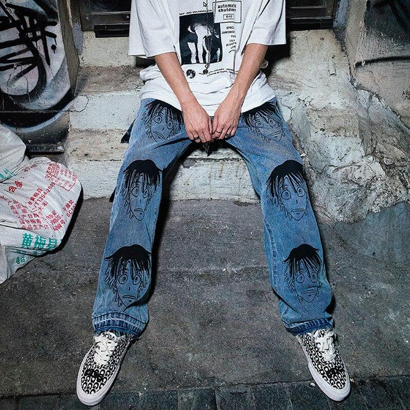 Pantalones vaqueros azules rectos sueltos de moda para hombre, pantalones de Hip Hop informales, 2019 nuevos pantalones de Skateboard con cremallera para hombre, ropa de calle-in Pantalones vaqueros from Ropa de hombre    3