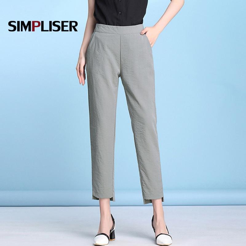Women Linen Harem   Pants   2019 Summer   Capri   Trousers Black Green Grey Female Casual Harem   Pants   Plus Size 5XL Cool Femme Pantalon