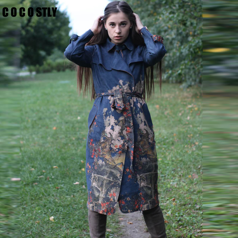 2018   Trench   Coat For Women Windbreaker Printed Floral Long Suede   Trench   Coat Female Autumn Long Sleeve Long Coats Plus Size 3XL