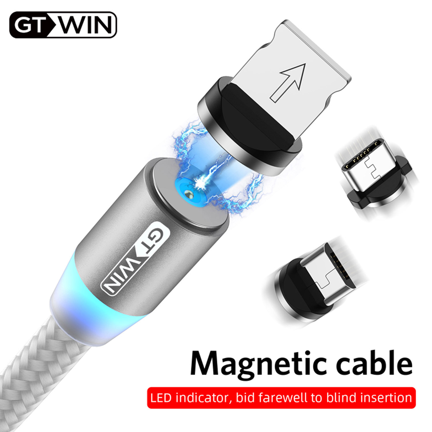 GTWIN Magnetic USB Cable 1M Charger For Iphone 7 8 X Max Xs Xr Fast Charging Magnet Type C Cord Lighting Micro Wire For Huawei in Mobile Phone Cables from Cellphones Telecommunications
