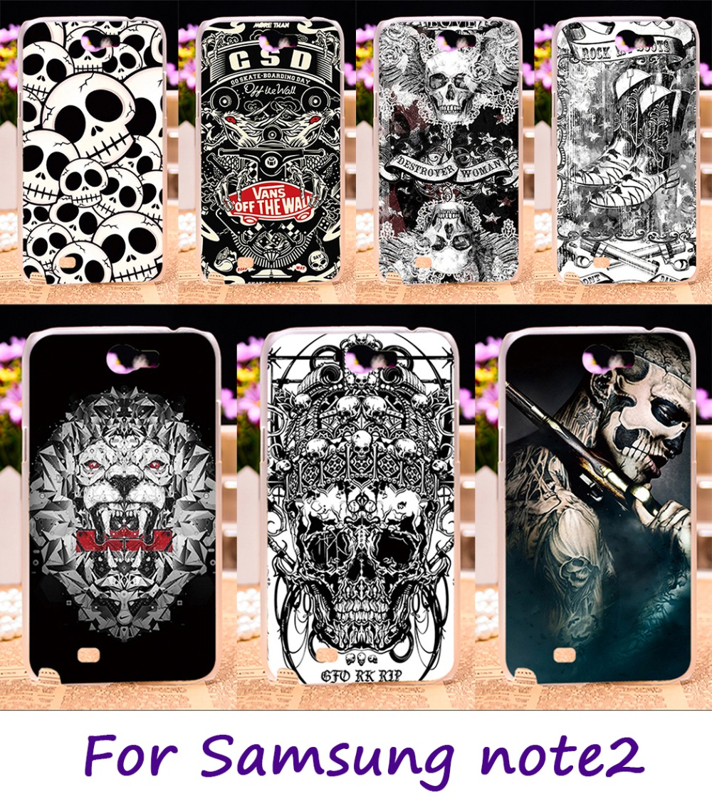 Hard Plastic Phone Cover For Samsung Galaxy NoteII N7100 Note 2 Case Black White Cool Skull Pattern Shield Smartphone Hood Shell
