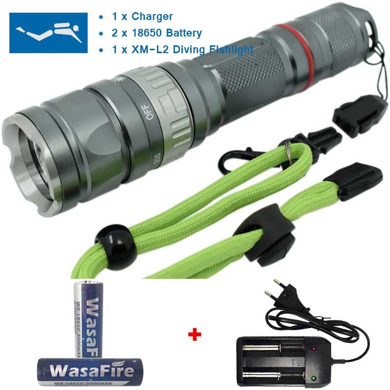 Wasafire XML Q5 18650 Flashlight 2000LM LED Diving Flashlight Torch Camping Hiking Light Waterproof 50 Meters Underwater Lamp