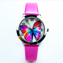 little boys and girls colorful butterfly Insects dial jelly leather wat