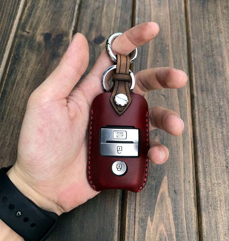 1 piece Handmade Genuine Leather Car Key Cover Case Bag for KIA K2 K3 K4 K5 KX3 KX5 for Smart Car Key in Key Case for Car from Automobiles Motorcycles