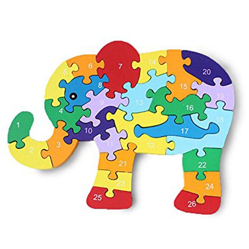 цены  Animal Alphabet Cognitive Elephant wooden toys Three-Dimensional Jigsaw Block Enlightenment  Toy Building Blocks