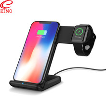 EIMO Station For Apple Watch 4/3 Stand iPhone 8 Plus XS iWatch band 42/44/38mm Wireless Charge Samsung S9 S8 watch accessories