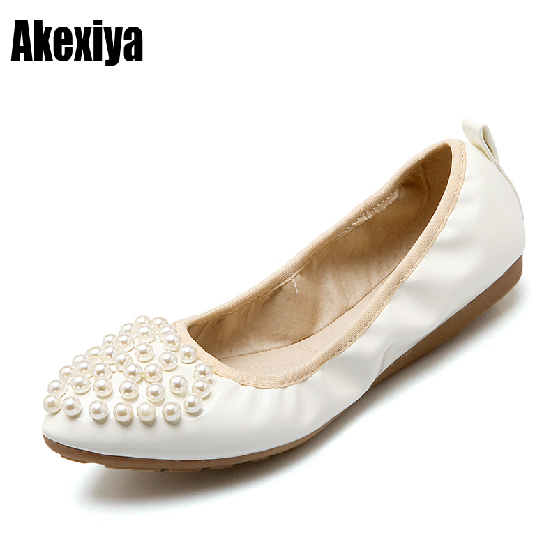 a616f5813fb New Ballet Flats White Pearl Wedding Shoes Flat Heel Casual Shoes ...