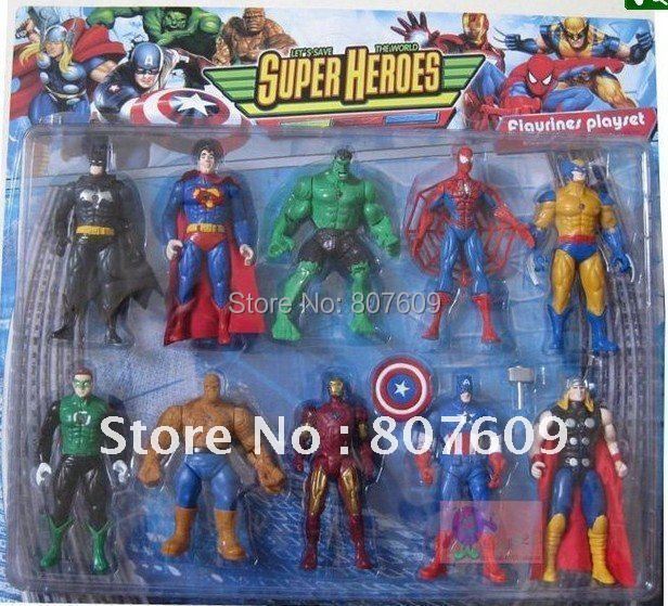 SUPER HEROES Action Figure toys Marvel The Avengers Heros,with light on chest  10pcs/set PVC  best gift  for  christmas