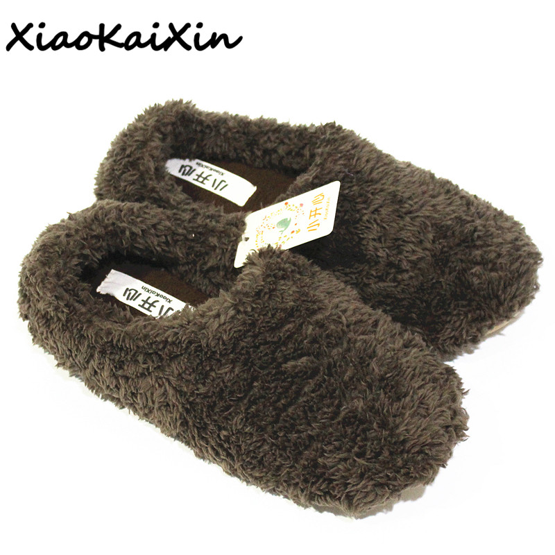 XiaoKaiXin Winter Warm Home Shoes Woman Plush Solid Indoor Floor Soft Fluffy Silent Slippers Women/Men/Children House Slipper цена 2017