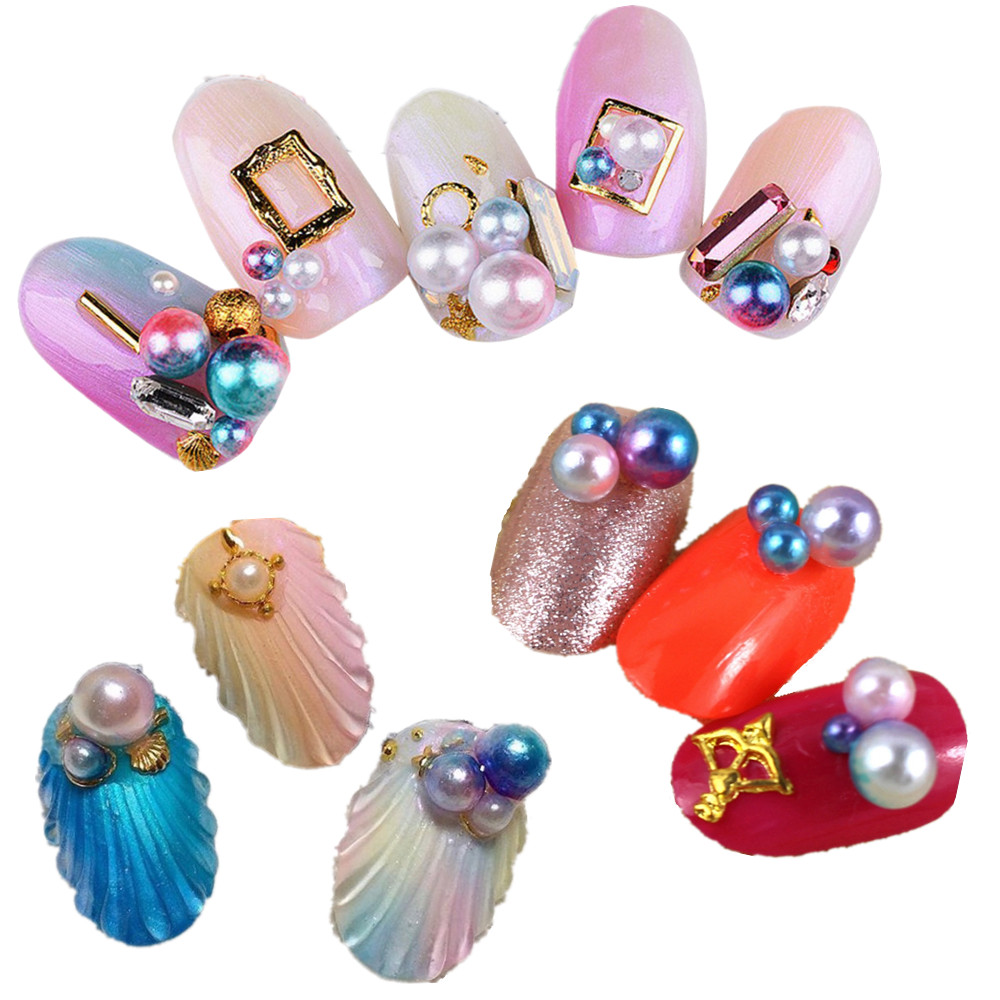 6 Colors 12PCS Mermaid Nail Art Fashion 3D Jewelry Gradient Pearl ...